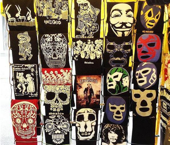 メキシコのお土産(Tシャツ) ルチャリブレ・ガイコツ