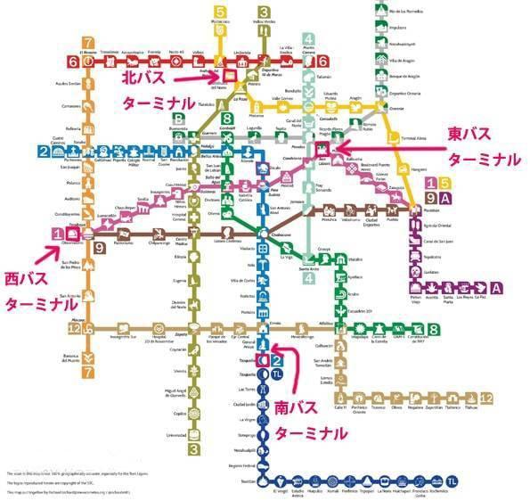 メキシコシティの地下鉄(メトロ)の路線図・地図