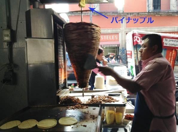メキシコ料理のタコスの中に入れるパストールとパイナップル